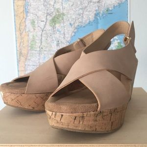 Chinese Laundry Strappy Cork Wedge in Desert Rose